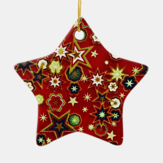 Red STAR Double-Sided Star Ceramic Christmas Ornament