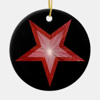 Red Star ornament round black