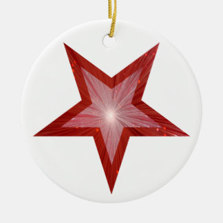 Red Star ornament round white
