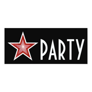 Red Star 'PARTY' invitation black long