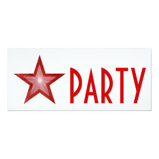 Red Star 'PARTY' invitation white long