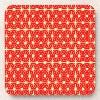 red star pattern with yellow line drink coaster