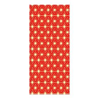 red star pattern with yellow line rack card