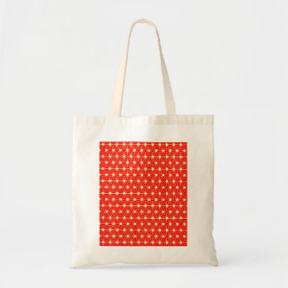 red star pattern with yellow line tote bag