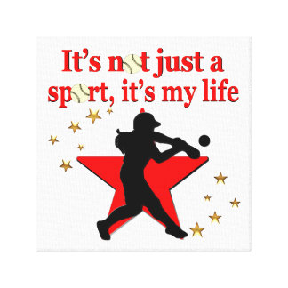 RED STAR SOFTBALL IS MY LIFE DESIGN CANVAS PRINT