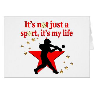 RED STAR SOFTBALL IS MY LIFE DESIGN CARD