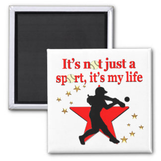 RED STAR SOFTBALL IS MY LIFE DESIGN MAGNET