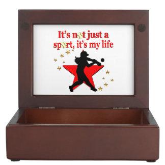 RED STAR SOFTBALL IS MY LIFE DESIGN MEMORY BOX