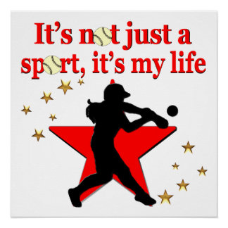 RED STAR SOFTBALL IS MY LIFE DESIGN POSTER