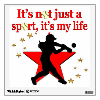 RED STAR SOFTBALL IS MY LIFE DESIGN WALL DECAL