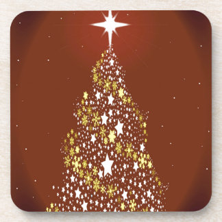 Red Star Spangled Christmas Tree Drink Coaster