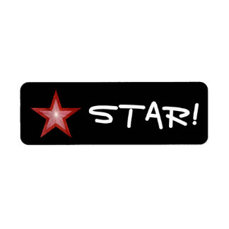 """Red Star """"STAR!"""" label small black"""