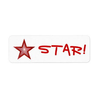 """Red Star """"STAR!"""" label small white"""