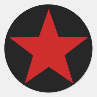 Red Star Round Sticker
