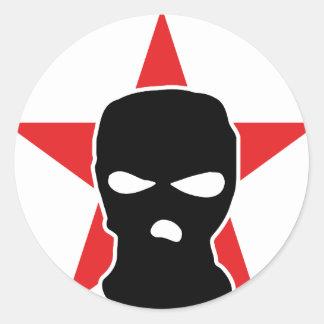 red star storm mask classic round sticker