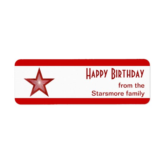 Red Star stripe 'Happy Birthday' text small white Label