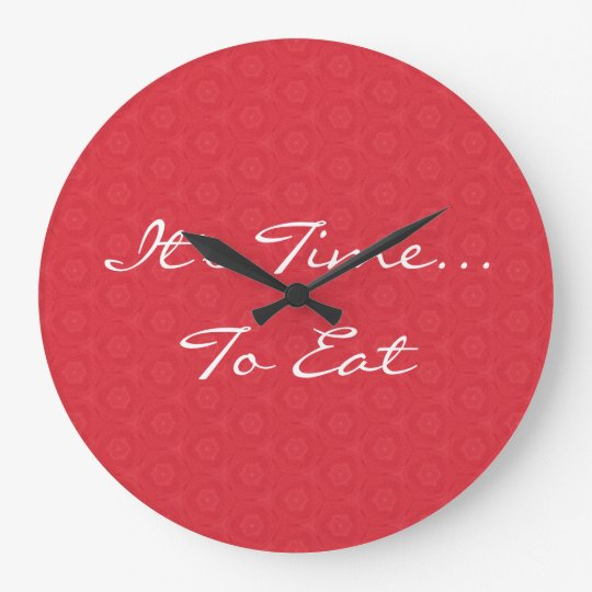 Red Star Triangle Pattern It's Time To Eat G200 Large Clock