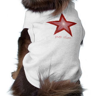 Red Star 'two tone' 'pup star' text dog tank top