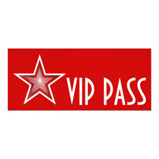 Red Star 'VIP PASS' invitation red long