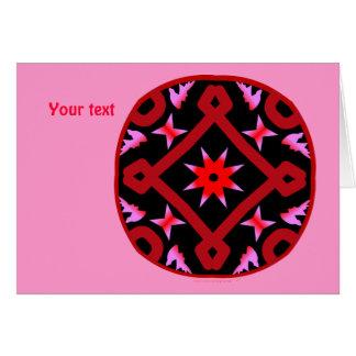Red Starburst Geometric Kaleidoscope Pattern Greeting Card