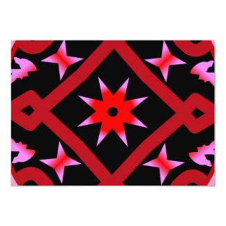 Red Starburst Geometric Kaleidoscope Pattern Invite