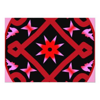 Red Starburst Geometric Kaleidoscope Pattern Invites