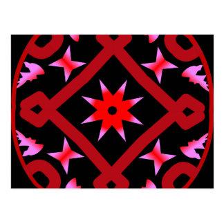 Red Starburst Geometric Kaleidoscope Pattern Postcards
