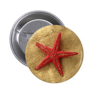 red starfish 2 inch round button