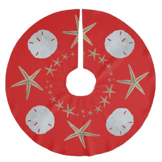 Red Starfish and Sand dollar Christmas Tree Skirt