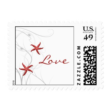 Beach Themed Red Starfish and Silver Coral Postage Stamp