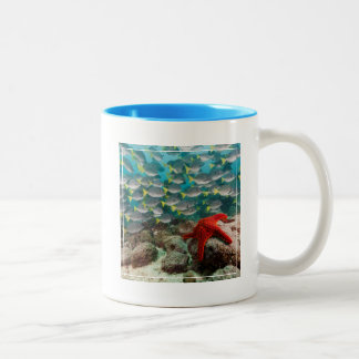 Red Starfish And Yellowtail Surgeonfish Two-Tone Coffee Mug
