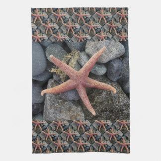 Red Starfish Beach House Decor Hand Towels