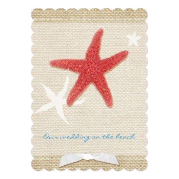 Beach Themed Red Starfish Rustic Beach Wedding Card