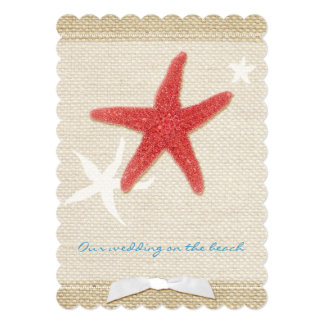 Red Starfish Rustic Beach Wedding Invitation