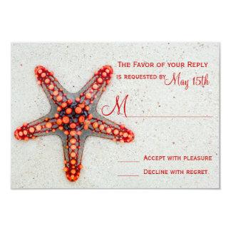 Red Starfish Sand Beach Destination Wedding RSVP Card