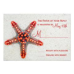 Red Starfish Sand Beach Destination Wedding RSVP Personalized Invitation