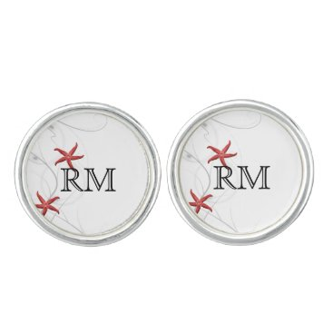 Beach Themed Red Starfish with Silver Coral Wedding Cuff Links