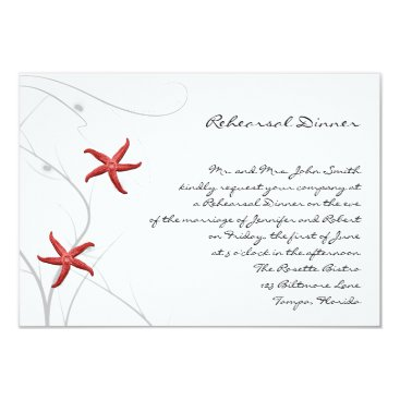 Beach Themed Red Starfish with Silver Coral Wedding Rehearsal Card