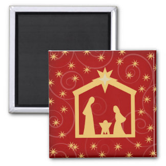 Red Starry Night Christmas Nativity Magnet
