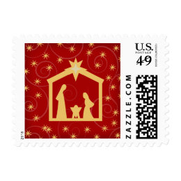 Red Starry Night Christmas Nativity Postage Stamp