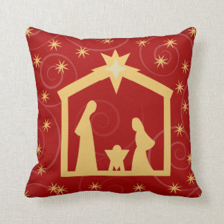 Red Starry Night Nativity Christmas Pillow
