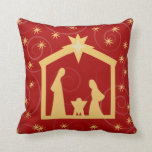 Red Starry Night Nativity Christmas Pillow Bendel
