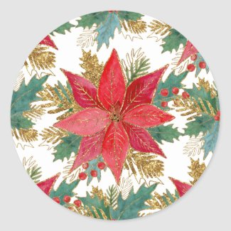 Red Starry Poinsettia and Holly Fancy Sticker