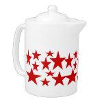 Red Stars Abstract art Tea Pot