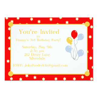 Red Stars and Balloons Birthday Invite