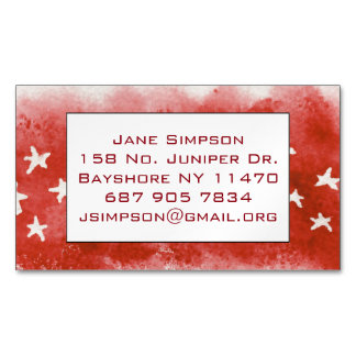 Red Stars at night Business Card Magnet