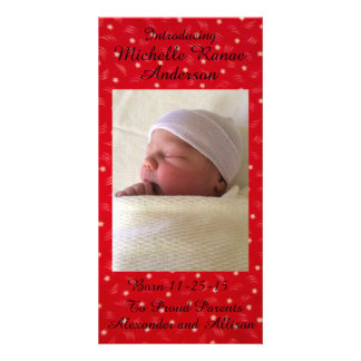 Red Stars Baby Announcement Personalized 8x4
