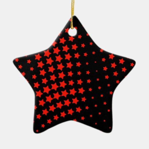 RED STARS CERAMIC ORNAMENT