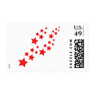 red stars falling postage