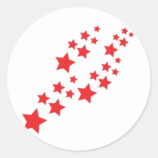 red stars falling round sticker